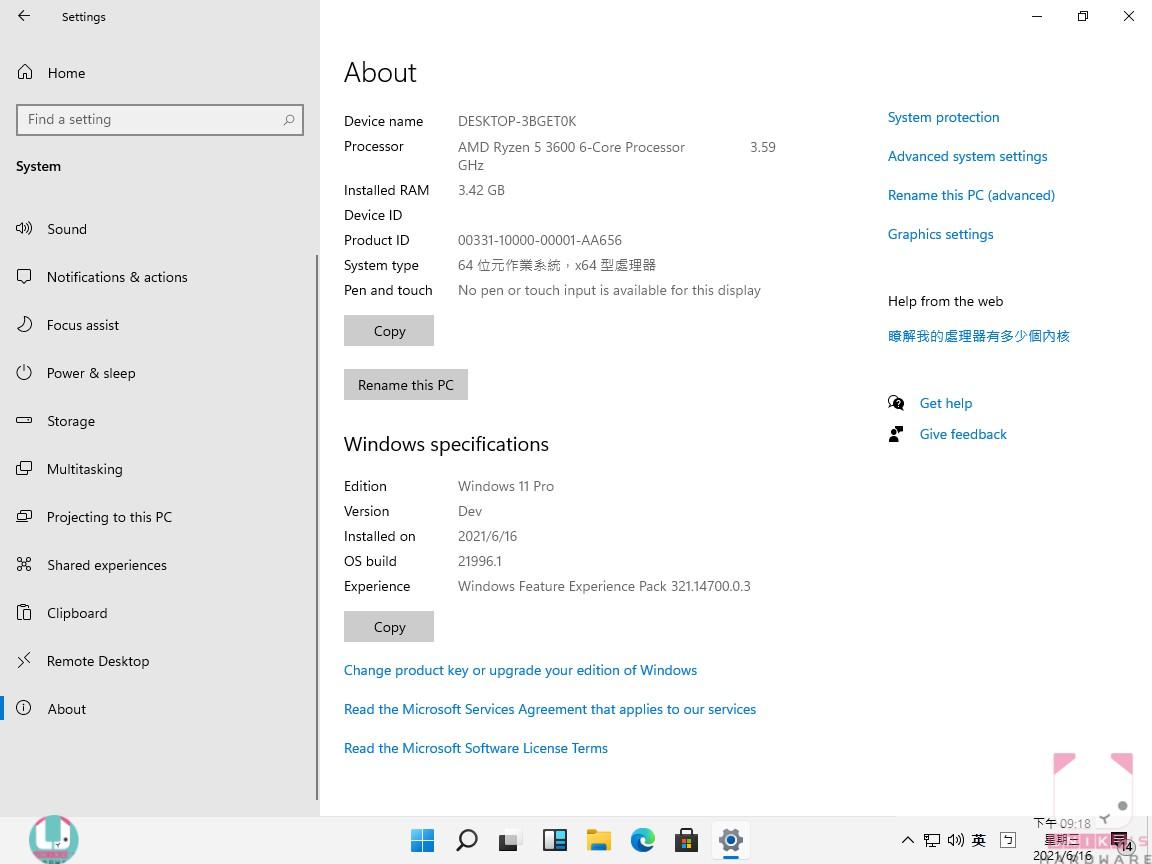 測試系統為 Windows 11 Pro,OS build 21996。