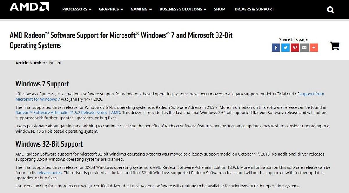 Windows 7 與 32 位元系統不再支援