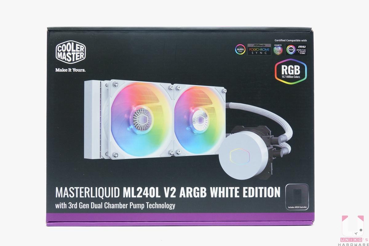 MASTERLIQUID ML240L V2 ARGB White Edition 外盒。