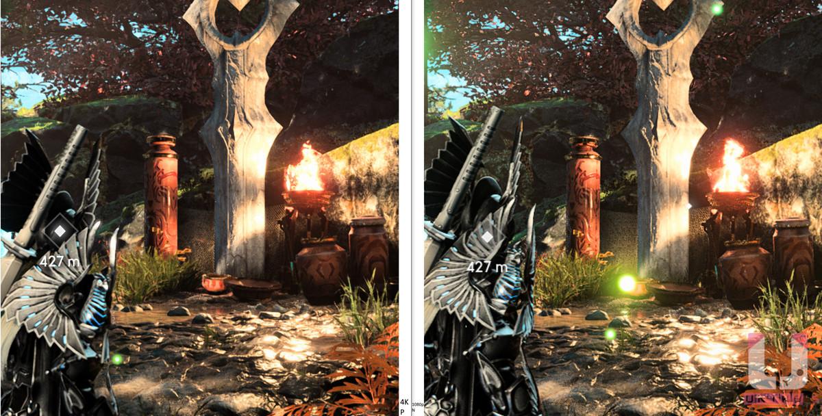 4K Performance,114 FPS (左) 和 1080p,125 FPS (右) 預設對比。