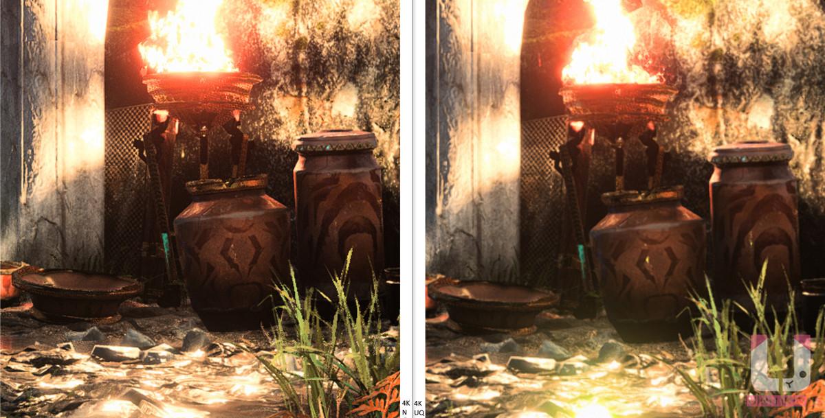 4K Native,43 FPS (左) 和 4K Ultra Quality,65 FPS (右) 對比。