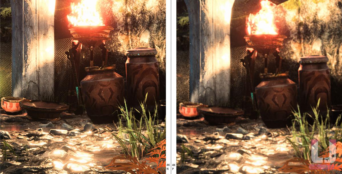 4K Native,43 FPS (左) 和 4K Performance,114 FPS (右) 對比。