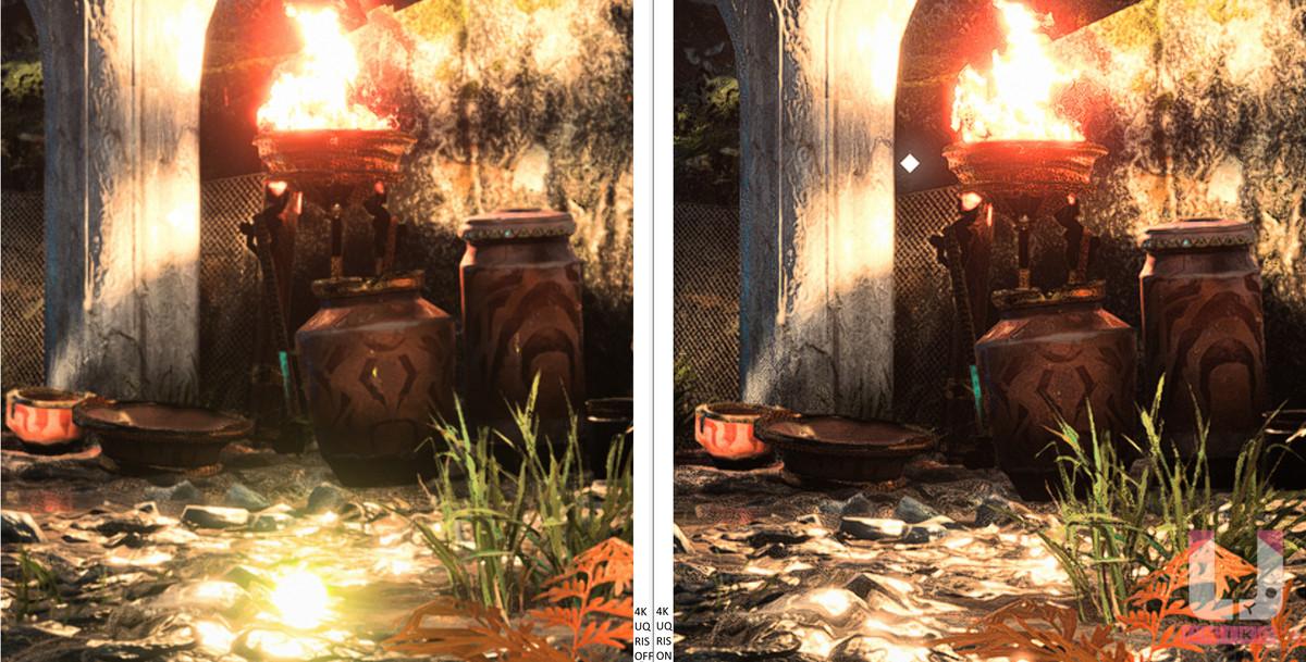 4K Ultra Quality 關,65 FPS (左) 和開,65 FPS (右) RIS 畫面對比。