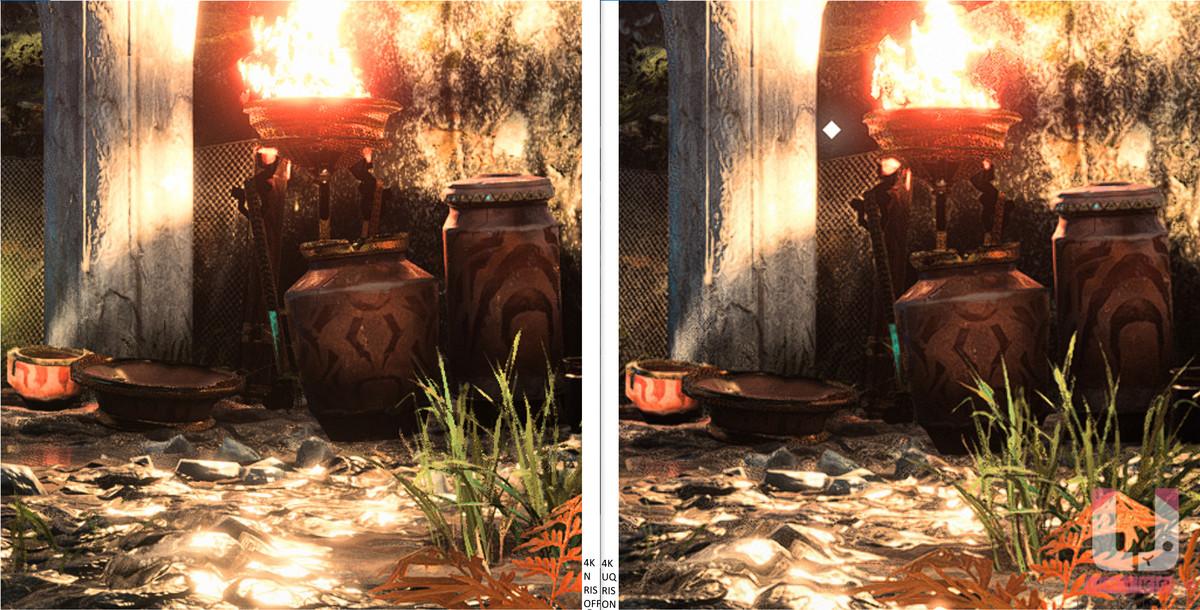 4K Native,43 FPS (左) 和 4K Ultra Quality 開啟 RIS,65 FPS (右) 畫面對比。