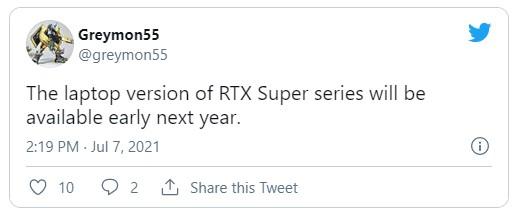 只有筆電版本將推出 RTX 30 SUPER 系列