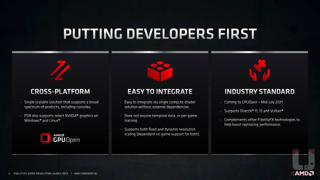 AMD 在 GPUOpen 上開放下載,讓開發商便於開發支援 FidelityFX Super Resolution 的遊戲。