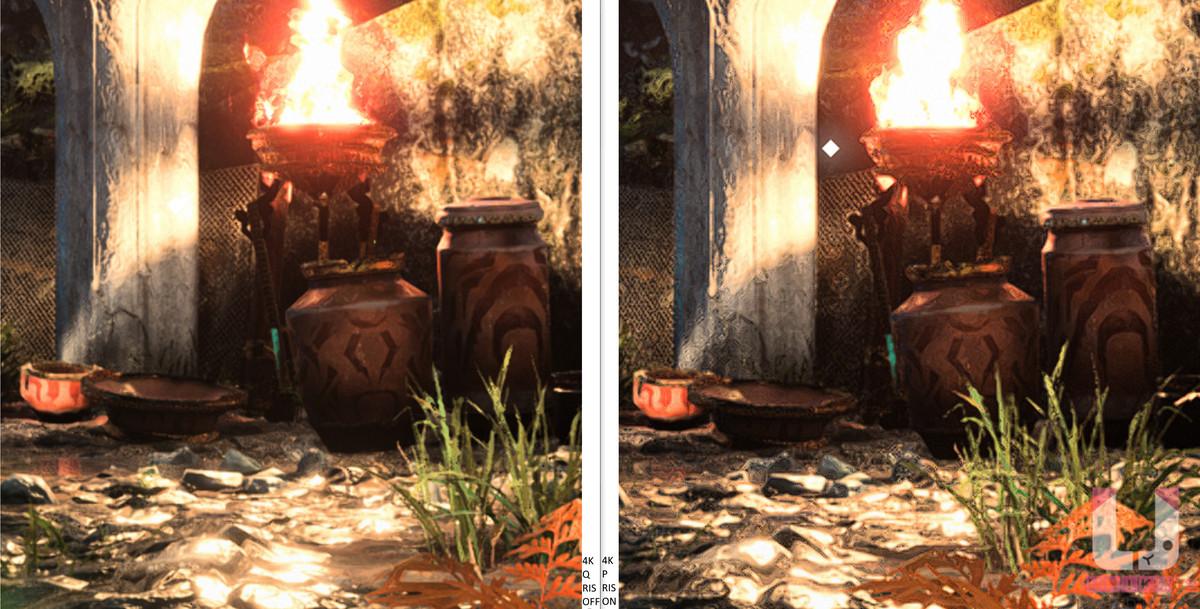 4K Quality,80 FPS (左) 和 4K Performance 開啟 RIS,113 FPS (右) 畫面對比。