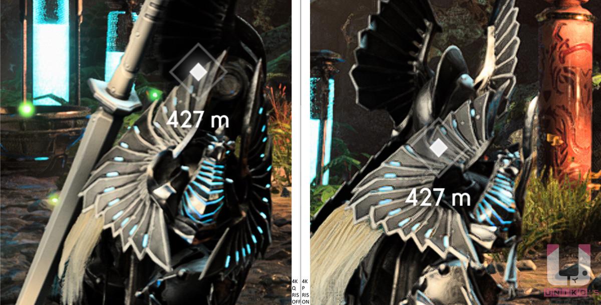 4K Quality,80 FPS (左) 和 4K Performance 開啟 RIS,113 FPS (右) 畫面對比 2。