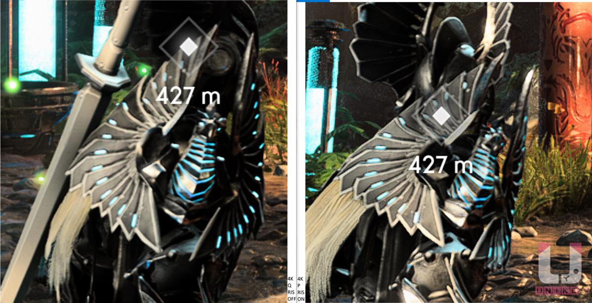 4K Quality,80 FPS (左) 和 4K Balanced 開啟 RIS,95 FPS (右) 畫面對比。