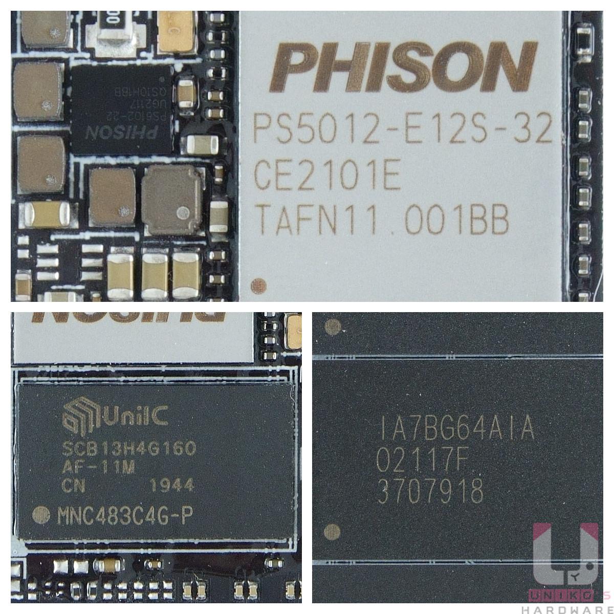 上方是控制器 PHISON PS5012-E12S,左下是記憶體快取顆粒,右下是美光 96 層 3D TLC NAND 記憶體顆粒。
