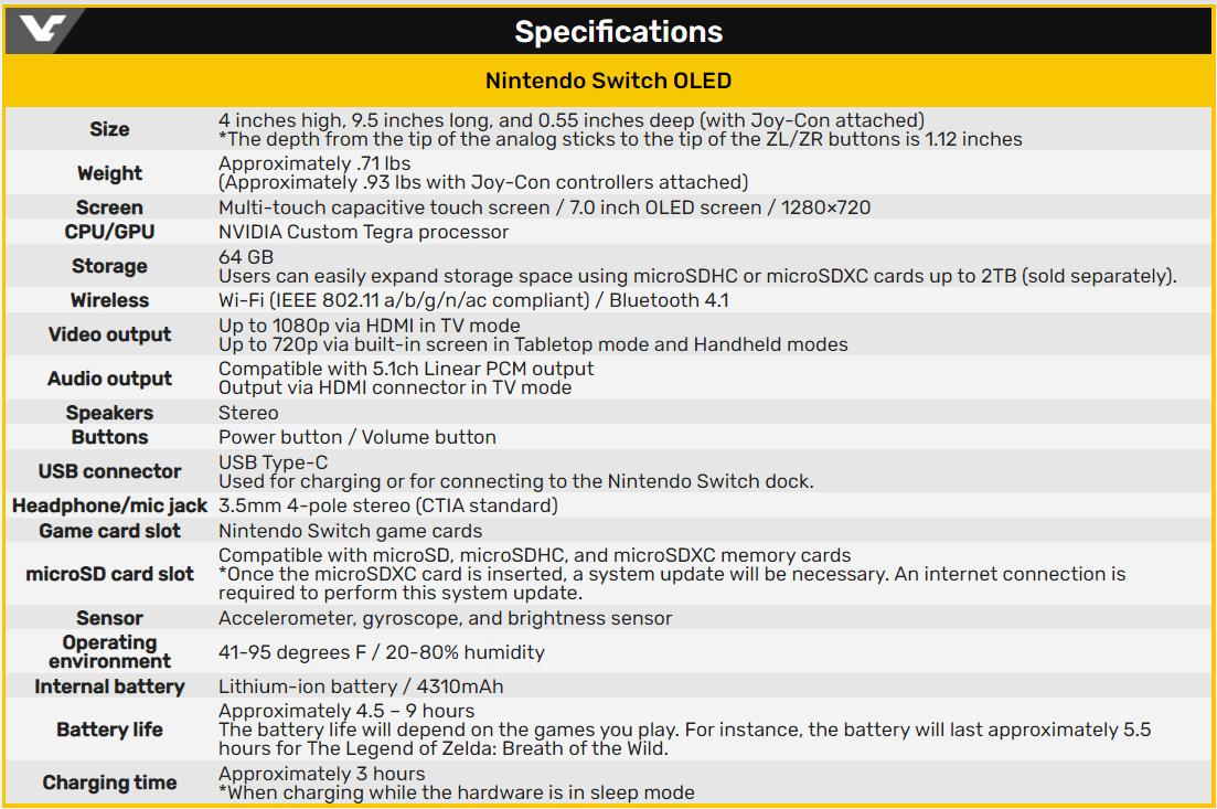 Nintendo Switch (OLED 款式) 規格