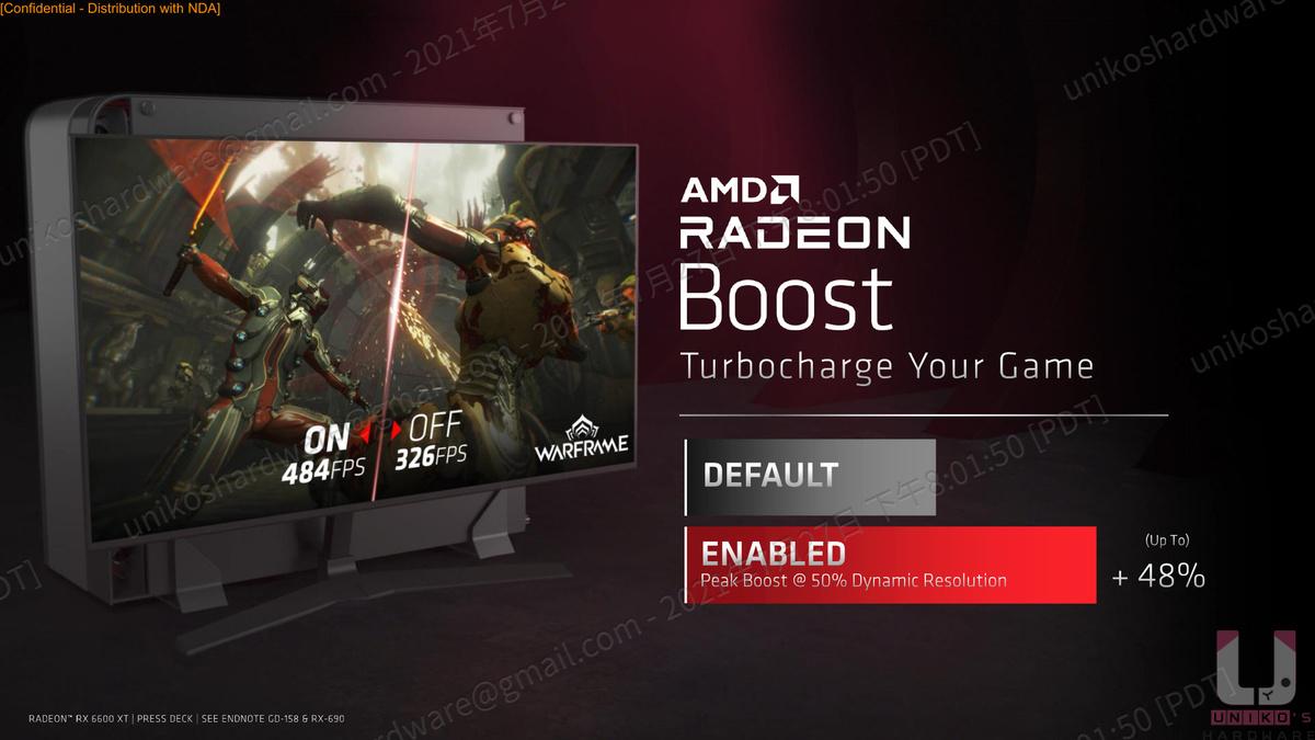 AMD Radeon Boost 能提供高達 48% 的幀數提升。