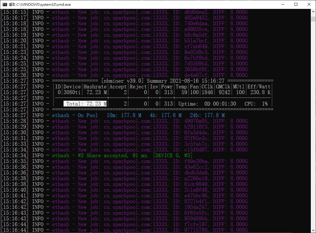 NBMiner LHR 模式實測。