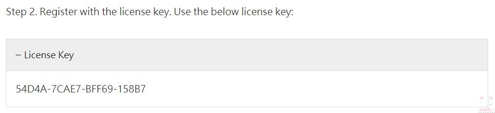 序號請到限免活動網頁,點開 License Key 就能看到。