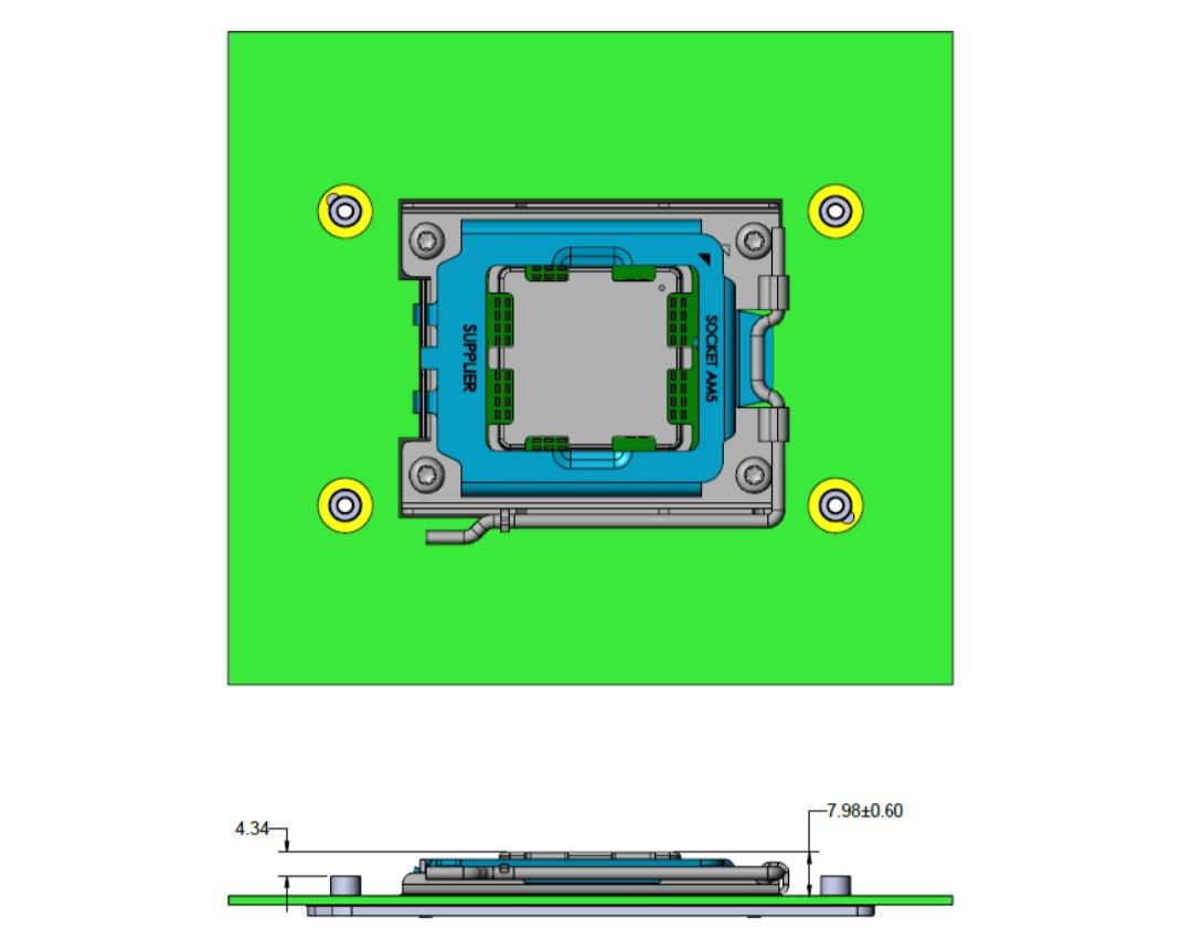 AMD AM5 腳位設計,來源:@TtLexington。