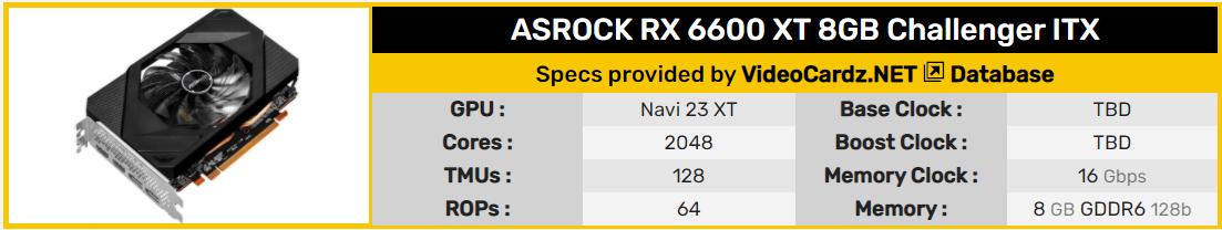 ASRock RX 6600 XT Challenger ITX 規格