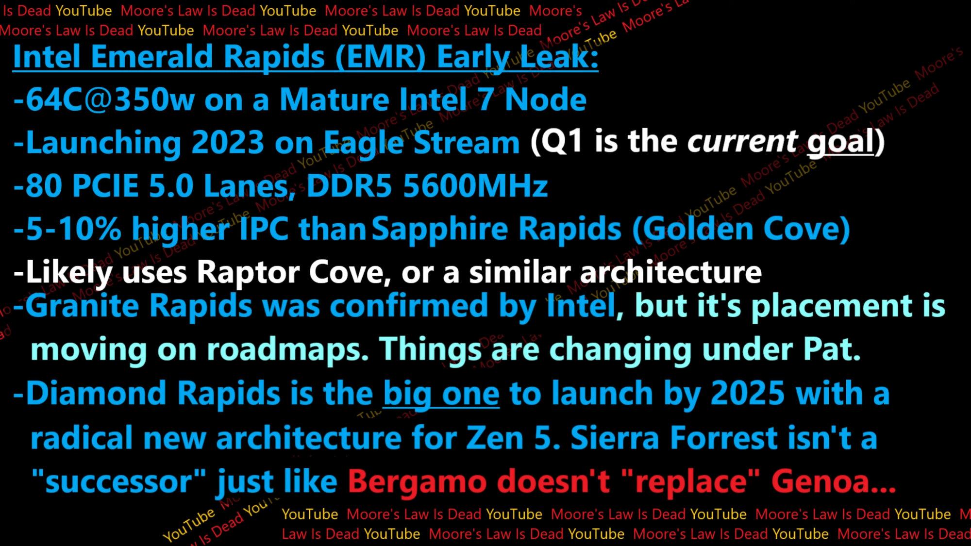 2023 年以後的 Intel Xeon,資料來源:Moore's Law Is Dead。