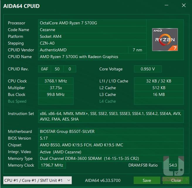 Ryzen 7 5700G CPU 資訊