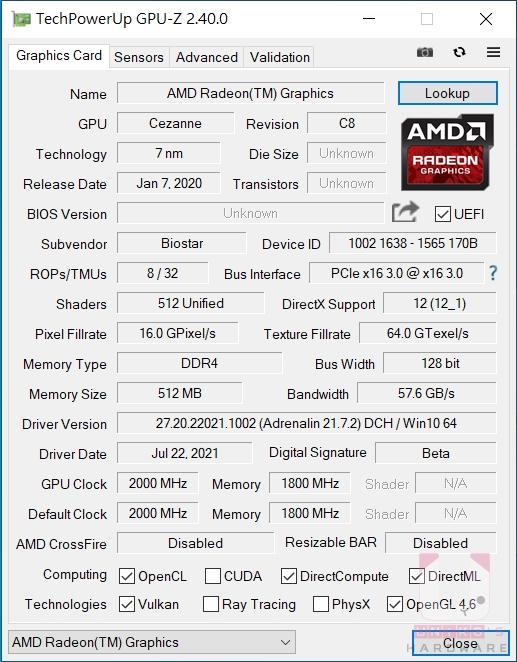 Ryzen 7 5700G GPU 資訊