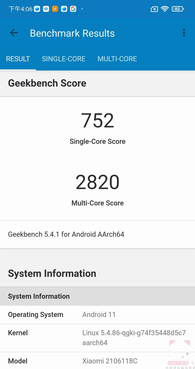 Geekbench 單核 752,多核 2820。