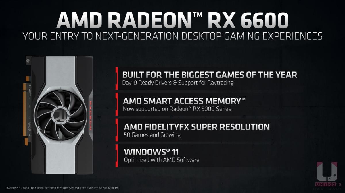 AMD Radeon RX 6600 主打的特色