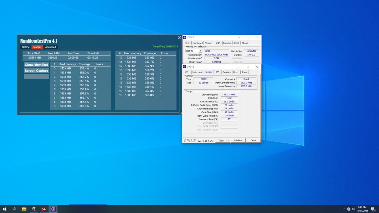 DDR5-6400 CL36-36-36-76 16GBx2 的燒機測試截圖。